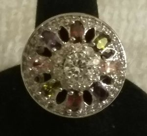 Silver Filled Ring Size 7 with Colorful Crystals